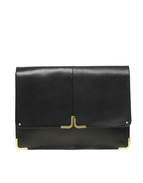 Image 1 ofASOS Leather Portfolio Clutch With Metal Tip