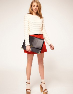 Image 3 ofASOS Leather Portfolio Clutch With Metal Tip