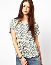 By Zoe Short Sleeved Printed Blouse