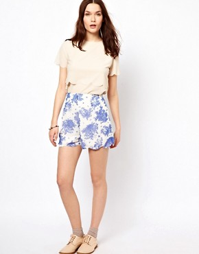 Image 1 of 18 And East High Waisted Scalloped Shorts