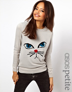 Image 1 ofASOS PETITE Exclusive Jumper With Cat Face