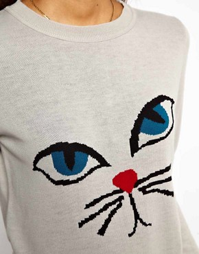 Image 3 ofASOS PETITE Exclusive Jumper With Cat Face