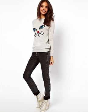 Image 4 ofASOS PETITE Exclusive Jumper With Cat Face