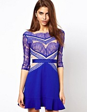 Three Floor Shade Of Blue Lace Dress