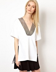 Chalayan Grey Line Short Sleeve Sweatshirt Top