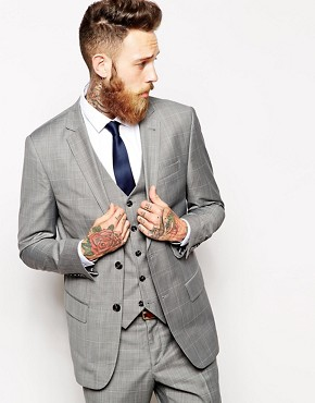 River Island Suit Jacket with Check Print