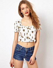 Viva Vena Cropped Top in Cowboys and Indians Print