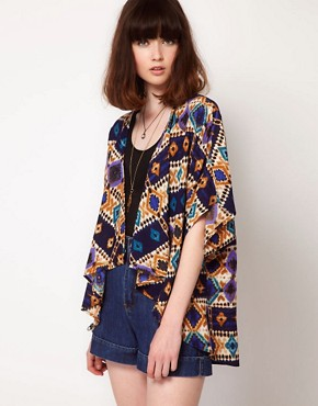 Image 1 ofBand of Gypsies Kimono Jacket In Graphic Traveller Print