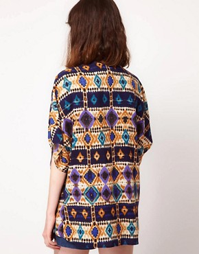 Image 2 ofBand of Gypsies Kimono Jacket In Graphic Traveller Print
