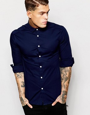 ASOS Skinny Fit Shirt In Navy With Long Sleeves