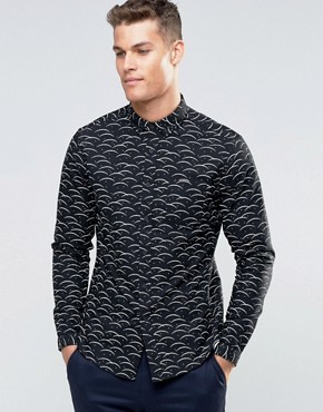 ASOS Oxford Shirt With Ditsy Print In Black With Long Sleeves