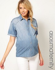 ASOS Maternity Denim Shirt With Roll Sleeve