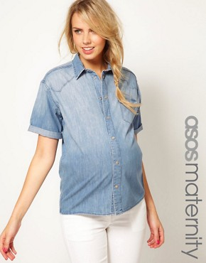 Image 1 ofASOS Maternity Denim Shirt With Roll Sleeve