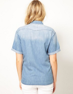 Image 2 ofASOS Maternity Denim Shirt With Roll Sleeve