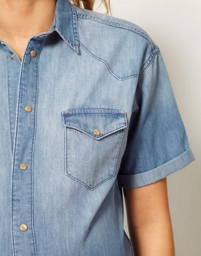 Image 3 ofASOS Maternity Denim Shirt With Roll Sleeve