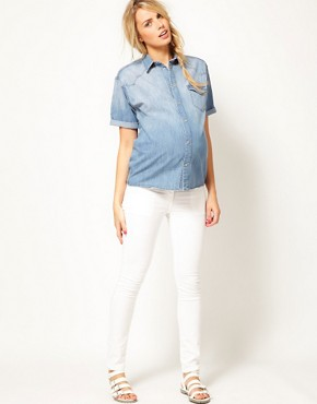 Image 4 ofASOS Maternity Denim Shirt With Roll Sleeve