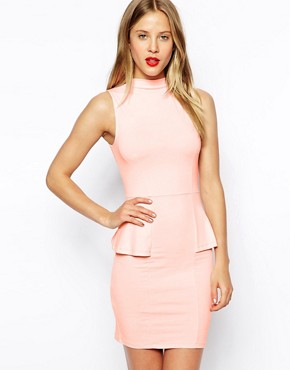 ASOS Sleeveless Dress with High Neck and Peplum