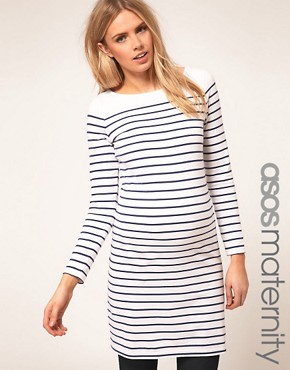 Image 1 ofASOS Maternity Exclusive Dress In Cotton Breton Stripe