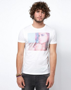 Image 1 ofASOS T-Shirt With USA Flag Girl Smoking Print