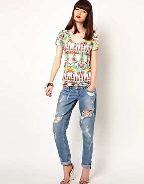Image 4 ofEleven Paris Aztec Print Tee in Linen
