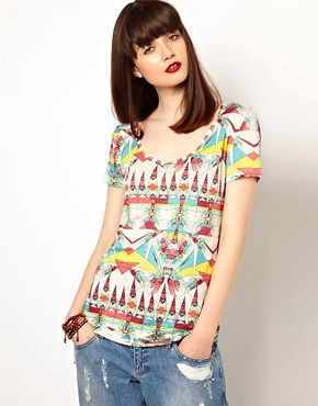 Image 1 ofEleven Paris Aztec Print Tee in Linen