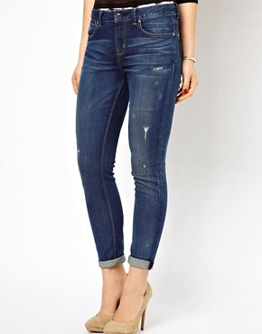 Image 1 ofKaren Millen Boyfriend Jeans with Distressing Detail