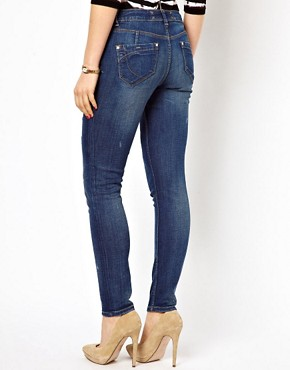 Image 2 ofKaren Millen Boyfriend Jeans with Distressing Detail