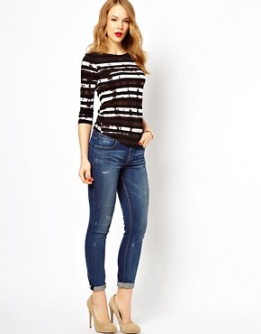 Image 4 ofKaren Millen Boyfriend Jeans with Distressing Detail