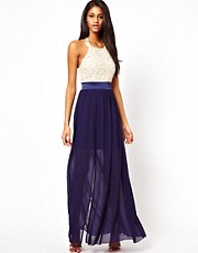 Little Mistress Halter Maxi Dress with Flower Applique