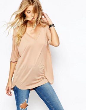 ASOS Oversized Top With V- Neck and Dip Back