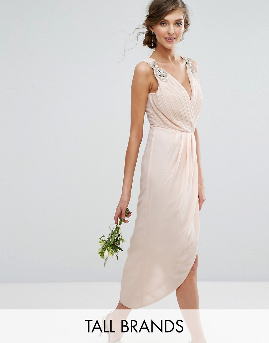TFNC Tall Wedding Wrap Midi Dress With Embellishment - Beige