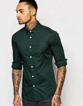 ASOS Skinny Fit Shirt In Khaki With Long Sleeves