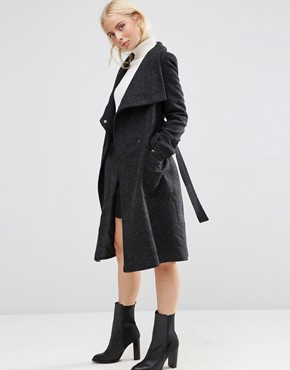 ASOS Coat in Wool Blend With Funnel Neck and Tie Waist