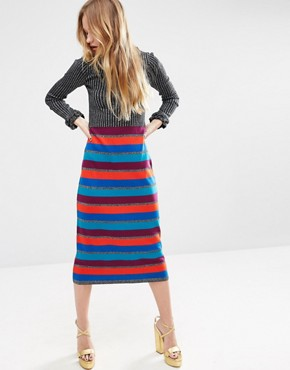 ASOS Knit Dress In Metallic Stripe With Ruffle Details