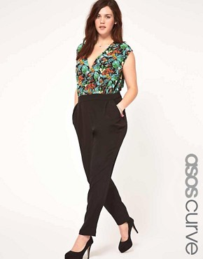 Image 1 ofASOS CURVE Exclusive Jumpsuit In Tropical Print.