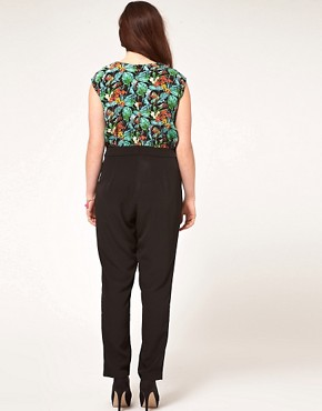 Image 2 ofASOS CURVE Exclusive Jumpsuit In Tropical Print.