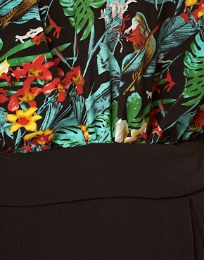 Image 3 ofASOS CURVE Exclusive Jumpsuit In Tropical Print.