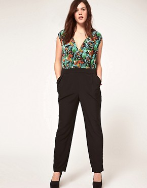 Image 4 ofASOS CURVE Exclusive Jumpsuit In Tropical Print.