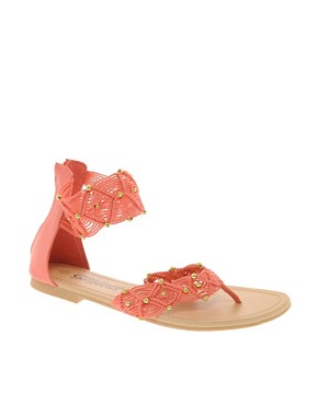Image 1 ofNew Look T Heart Coral Sandals