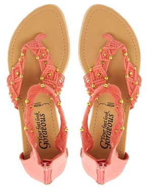 Image 4 ofNew Look T Heart Coral Sandals