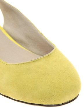Image 2 ofASOS LAGUNA Suede Ballet Flats with Metallic Block Heel