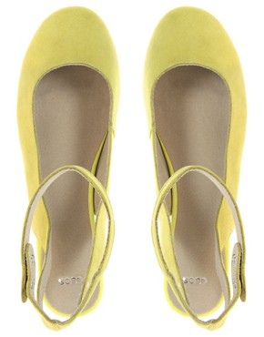 Image 3 ofASOS LAGUNA Suede Ballet Flats with Metallic Block Heel