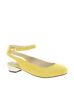 Image 1 ofASOS LAGUNA Suede Ballet Flats with Metallic Block Heel