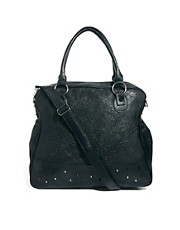 Religion Studded Slouchy Shoulder Bag