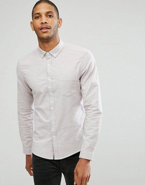 ASOS Casual Regular Fit Oxford Shirt In Dusty Pink