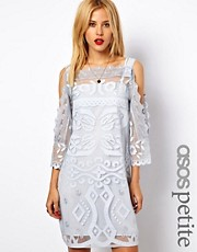 ASOS PETITE Exclusive Shift Dress With Cutwork Detail