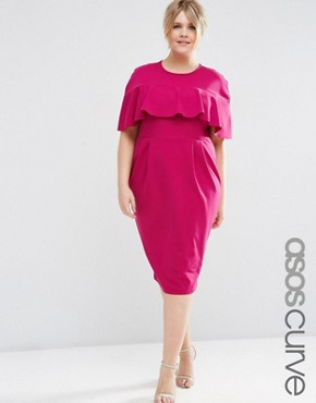ASOS CURVE Wiggle Dress with Frill Sleeve