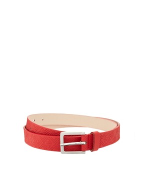 Image 1 ofASOS Aztec Emboss PU Chino Belt