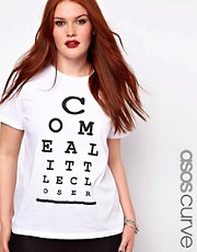 ASOS CURVE T-Shirt With Come A Little Closer