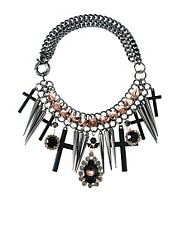 ASOS Premium Spike Jewel Cross Necklace
